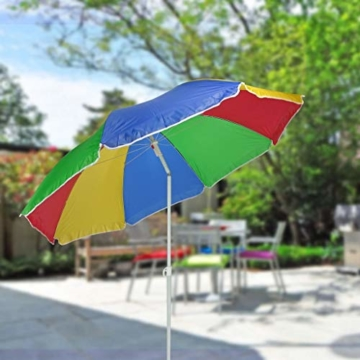 Sonnenschirm 180cm Strandschirm Balkonschirm Schirm Regenbogen Regenbogenfarben -