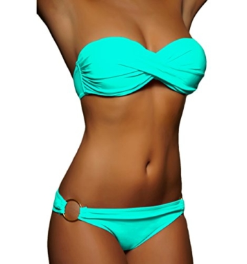 ALZORA Twist Push Up Bandeau Bikini Set Damen Pushup Badeanzug viele Farben und Größen (S, A1-1-Türkis) -