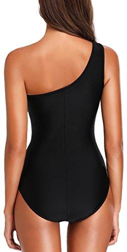 TDOLAH Damen Sexy Uni Badeanzug Bandeau Figurformender Größe M-3XL (XL, black) -