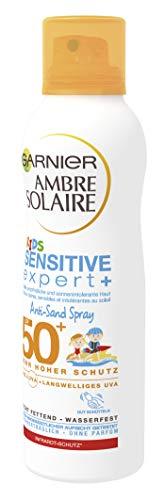 Garnier Ambre Solaire Anti-Sand Sonnenschutz Spray Kids / Sonnenspray für Kinder extra wasserfest / LSF 50+, 1er Pack – 200 ml -