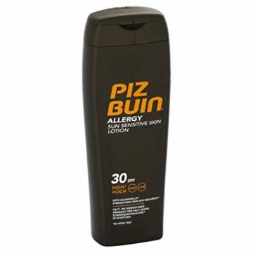 PIZ BUIN Allergy Sensitive Skin Sun Lotion LSF 30 / Feuchtigkeitsspendende Sonnencreme für Allergiker – gegen Hautirritationen / Wasserfeste Sonnenlotion für sonnenempfindliche Haut / 200ml -