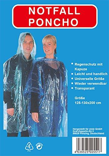 8xRegenponcho Regen Poncho mit Kaputze Notfallponcho transparent -