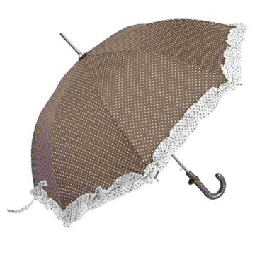 Kleiner Regenschirm Stockschirm Kinderschirm mit Rüschen braun- weiß gepunktet -