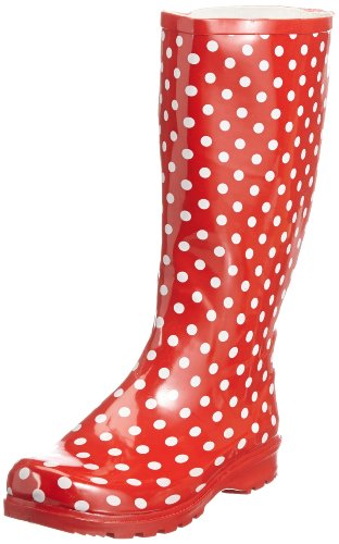 Playshoes Gummistiefel Punkte aus Naturkautschuk 190100, Damen Gummistiefel, Rot (rot 8), EU 40