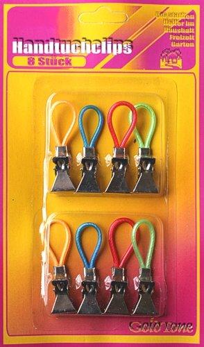 8 Handtuchclips Metall,Aufhänge-Clips,Haushaltshelfer hi371 -