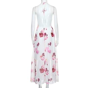 kleid damen Kolylong® Frauen elegantes V-Ausschnitt Blumen gedrucktes ärmelloses langes Kleid Reizvolles rückenfreies kleid Böhmisches kleid Partykleid Abendkleid Strandkleid (M, Weiß) -