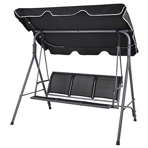 3 sitzer hollywoodschaukel bibione mit abnehmbarem und neigbarem sonnendach gartenschaukel f r 3. Black Bedroom Furniture Sets. Home Design Ideas