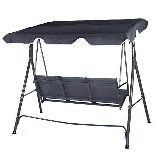 hollywoodschaukel gartenschaukel grau mit dach garten schaukel 3 sitzer. Black Bedroom Furniture Sets. Home Design Ideas
