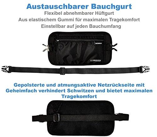 Flache Bauchtasche Hüfttasche mit RFID Blockierung und 2