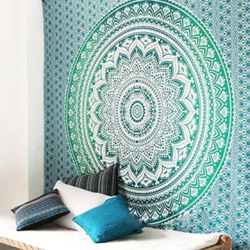 Aakriti Gallery Tapestry Queen Ombre Hippie Tapestries Mandala Bohemian Psychedelic Intricate Indian Bedspread 92x82 Inches (Green) - 2