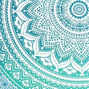 Aakriti Gallery Tapestry Queen Ombre Hippie Tapestries Mandala Bohemian Psychedelic Intricate Indian Bedspread 92x82 Inches (Green) - 3