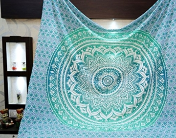 Aakriti Gallery Tapestry Queen Ombre Hippie Tapestries Mandala Bohemian Psychedelic Intricate Indian Bedspread 92x82 Inches (Green) - 1