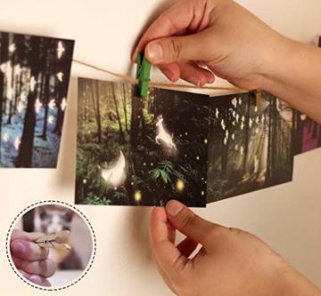 ABSOFINE 200 Wäscheklammern Holz mit 120M Garten Kordel 10 Stück Non-Trace Haken bunt Holzwäscheklammern 3,5cm Kordel Schnur Weiß Natur Juteschnur für Fotos Garten Fotowand Verpackung Gastgeschenk - 4