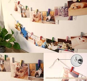 ABSOFINE 200 Wäscheklammern Holz mit 120M Garten Kordel 10 Stück Non-Trace Haken bunt Holzwäscheklammern 3,5cm Kordel Schnur Weiß Natur Juteschnur für Fotos Garten Fotowand Verpackung Gastgeschenk - 5