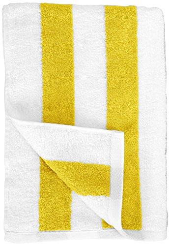 AmazonBasics - Strandtuch, Blockstreifen, Gelb, 2er-Pack - 7