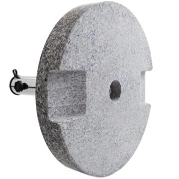 Anaterra Sonnenschirmständer, Schirmständer für Garten oder Balkon, aus Granit und Edelstahl, 20 kg, rund, mit Griffmulden - 2