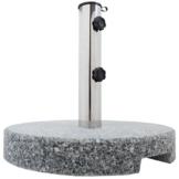 Anaterra Sonnenschirmständer, Schirmständer für Garten oder Balkon, aus Granit und Edelstahl, 20 kg, rund, mit Griffmulden - 1