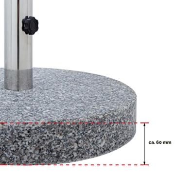 Anaterra Sonnenschirmständer, Schirmständer für Garten oder Balkon, aus Granit und Edelstahl, 20 kg, rund, mit Griffmulden - 4