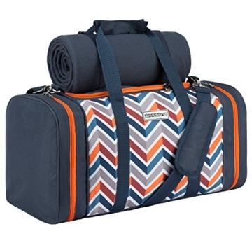 anndora Picknick Kühltasche inkl. Picknick Decke Geschirr Besteck 4 Personen dunkelblau orange - 2