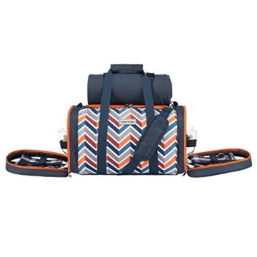 anndora Picknick Kühltasche inkl. Picknick Decke Geschirr Besteck 4 Personen dunkelblau orange - 3