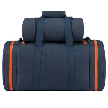 anndora Picknick Kühltasche inkl. Picknick Decke Geschirr Besteck 4 Personen dunkelblau orange - 4