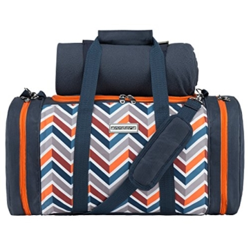 anndora Picknick Kühltasche inkl. Picknick Decke Geschirr Besteck 4 Personen dunkelblau orange - 1