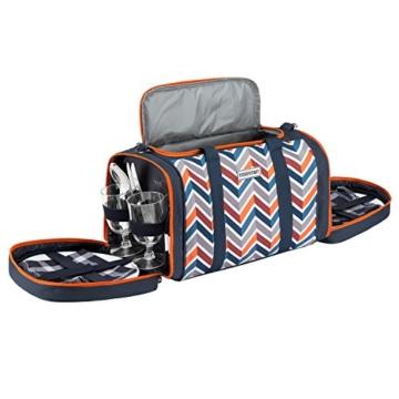 anndora Picknick Kühltasche inkl. Picknick Decke Geschirr Besteck 4 Personen dunkelblau orange - 5