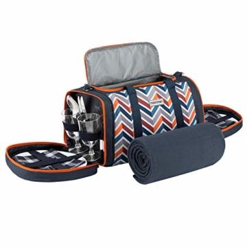 anndora Picknick Kühltasche inkl. Picknick Decke Geschirr Besteck 4 Personen dunkelblau orange - 6
