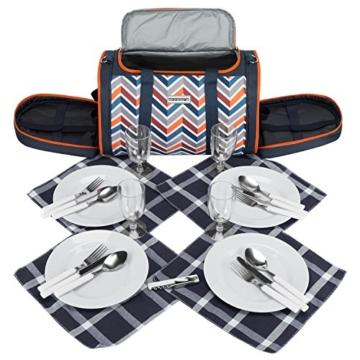 anndora Picknick Kühltasche inkl. Picknick Decke Geschirr Besteck 4 Personen dunkelblau orange - 7