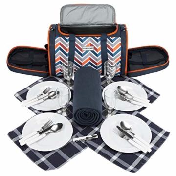 anndora Picknick Kühltasche inkl. Picknick Decke Geschirr Besteck 4 Personen dunkelblau orange - 8