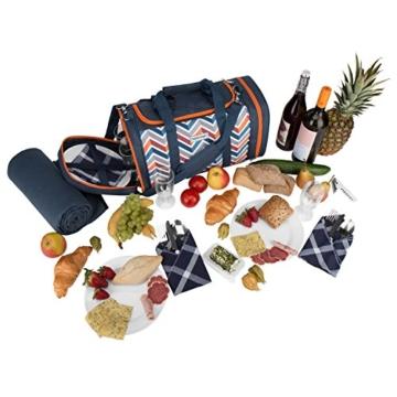 anndora Picknick Kühltasche inkl. Picknick Decke Geschirr Besteck 4 Personen dunkelblau orange - 9