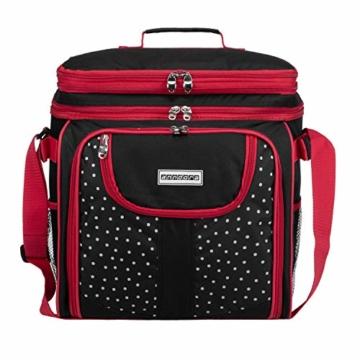 anndora Picknicktasche schwarz weiß gepunktet Kühltasche inkl. Zubehör 4 Personen 29 Teile - 2