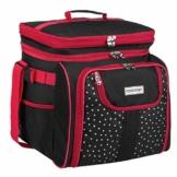 anndora Picknicktasche schwarz weiß gepunktet Kühltasche inkl. Zubehör 4 Personen 29 Teile - 1