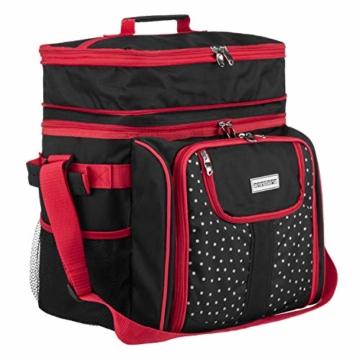 anndora Picknicktasche schwarz weiß gepunktet Kühltasche inkl. Zubehör 4 Personen 29 Teile - 3