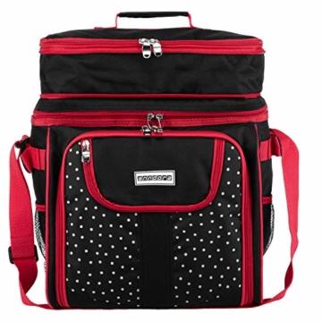 anndora Picknicktasche schwarz weiß gepunktet Kühltasche inkl. Zubehör 4 Personen 29 Teile - 4