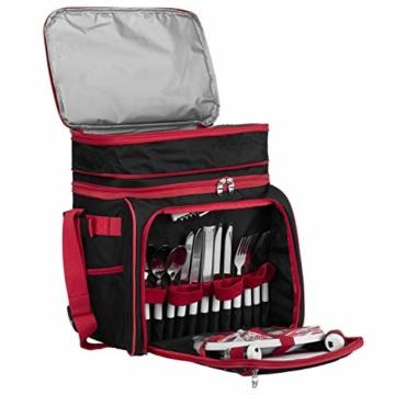 anndora Picknicktasche schwarz weiß gepunktet Kühltasche inkl. Zubehör 4 Personen 29 Teile - 5
