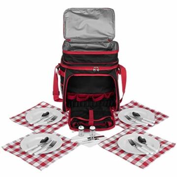 anndora Picknicktasche schwarz weiß gepunktet Kühltasche inkl. Zubehör 4 Personen 29 Teile - 6