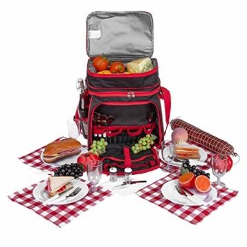 anndora Picknicktasche schwarz weiß gepunktet Kühltasche inkl. Zubehör 4 Personen 29 Teile - 7