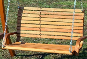 ASS Design Hollywoodschaukel Gartenschaukel Hollywood Schaukel aus Holz Lärche, Farbe:Braun - 3