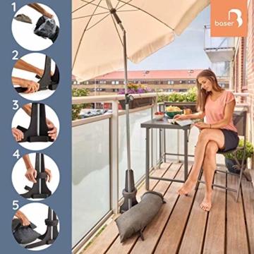 Baser Sonnenschirmständer für Balkon Wand mit befüllbarem Sandsack am Balkongeländer, Alternativ Sonnenschirm Balkonhalterung oder Befestigung ohne Bohren, kleine sonnenschirme (50 KG, Dunkelbraun) - 2