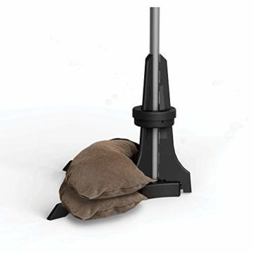 Baser Sonnenschirmständer für Balkon Wand mit befüllbarem Sandsack am Balkongeländer, Alternativ Sonnenschirm Balkonhalterung oder Befestigung ohne Bohren, kleine sonnenschirme (50 KG, Dunkelbraun) - 1