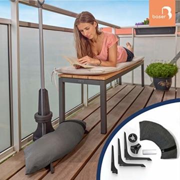Baser Sonnenschirmständer für Balkon Wand mit befüllbarem Sandsack am Balkongeländer, Alternativ Sonnenschirm Balkonhalterung oder Befestigung ohne Bohren, kleine sonnenschirme (50 KG, Dunkelbraun) - 5