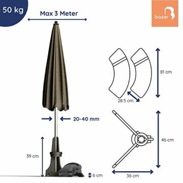 Baser Sonnenschirmständer für Balkon Wand mit befüllbarem Sandsack am Balkongeländer, Alternativ Sonnenschirm Balkonhalterung oder Befestigung ohne Bohren, kleine sonnenschirme (50 KG, Dunkelbraun) - 6
