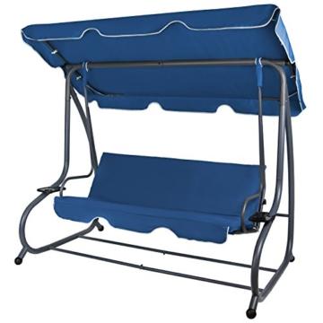 BB Sport 4-Sitzer Hollywoodschaukel Gartenschaukel klappbar mit Bettfunktion mit Sonnendach und Liegefunktion für 4 Personen, Farbe:Nachtblau - 2