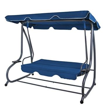 BB Sport 4-Sitzer Hollywoodschaukel Gartenschaukel klappbar mit Bettfunktion mit Sonnendach und Liegefunktion für 4 Personen, Farbe:Nachtblau - 3