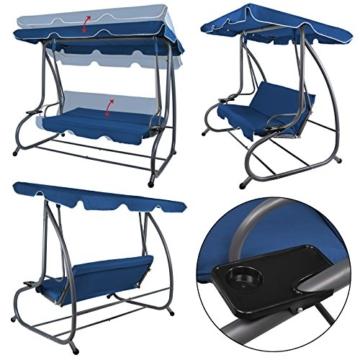 BB Sport 4-Sitzer Hollywoodschaukel Gartenschaukel klappbar mit Bettfunktion mit Sonnendach und Liegefunktion für 4 Personen, Farbe:Nachtblau - 4