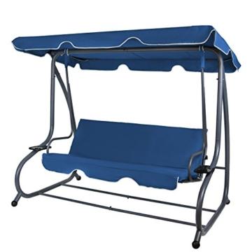 BB Sport 4-Sitzer Hollywoodschaukel Gartenschaukel klappbar mit Bettfunktion mit Sonnendach und Liegefunktion für 4 Personen, Farbe:Nachtblau - 1