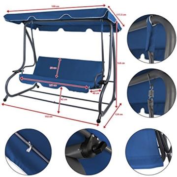 BB Sport 4-Sitzer Hollywoodschaukel Gartenschaukel klappbar mit Bettfunktion mit Sonnendach und Liegefunktion für 4 Personen, Farbe:Nachtblau - 5
