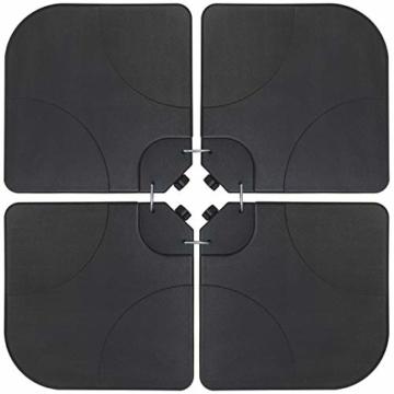 BB Sport Sonnenschirmständer 4-teilig Schirmgewicht für Ampelschirm Bodenkreuz schwarz 60 Liter / 80 kg - befüllbar mit Wasser oder Sand - 2