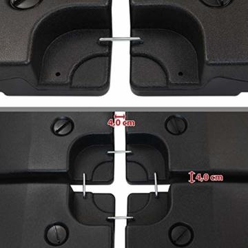 BB Sport Sonnenschirmständer 4-teilig Schirmgewicht für Ampelschirm Bodenkreuz schwarz 90 Liter / 120 kg - befüllbar mit Wasser oder Sand - 6